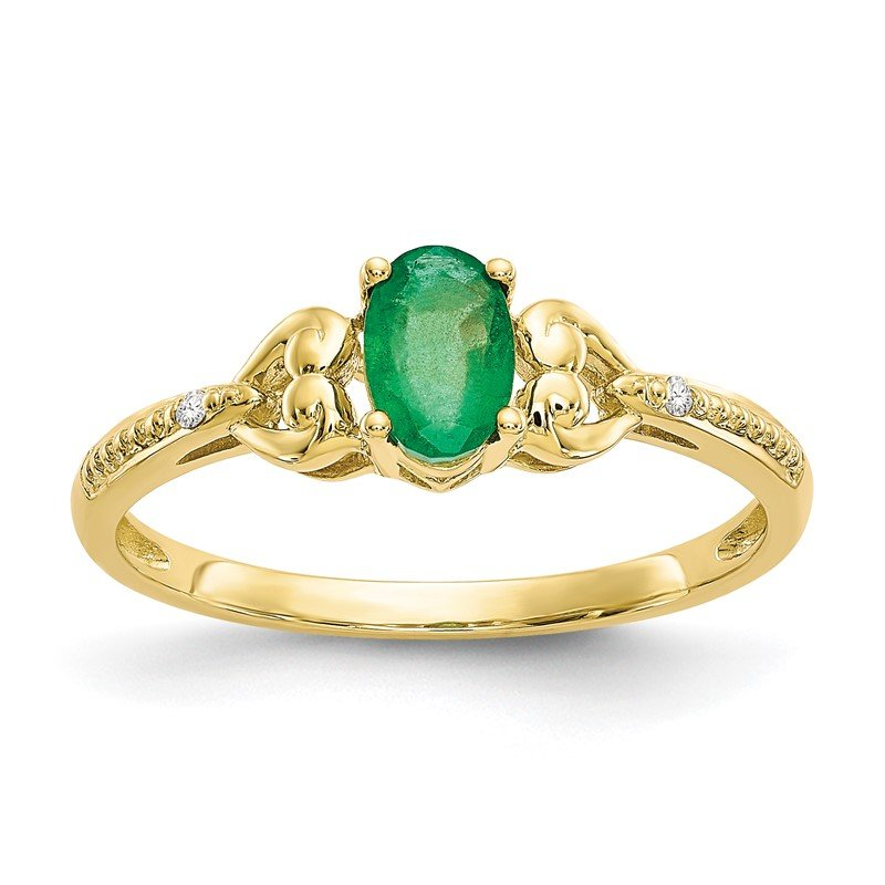 Quality Gold 10K Emerald and Diamond Ring