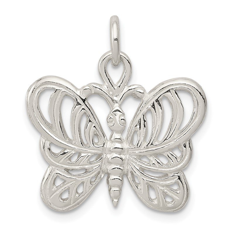 Quality Gold Sterling Silver Polished Butterfly Pendant