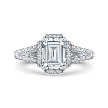 18K White Gold Emerald Cut Diamond Cathedral Style Engagement Ring with Split Shank (Semi-Mount)