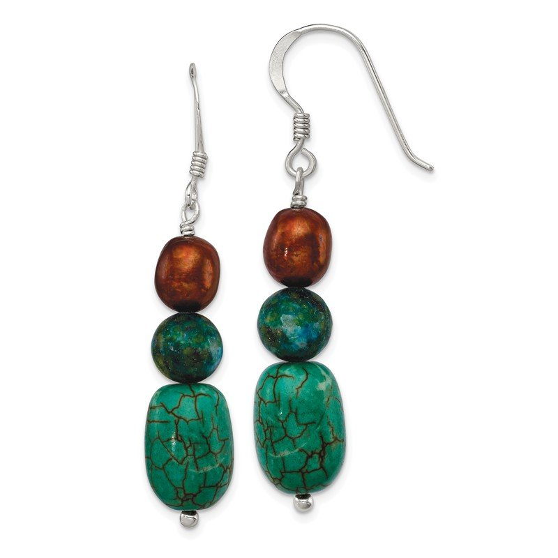 Quality Gold Sterling Silver Howlite/Stabil. Chrysocolla/Brown FWC Pearl Earrings