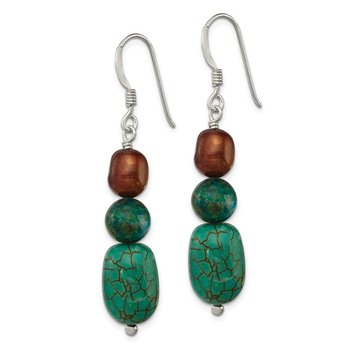 Sterling Silver Howlite/Stabil. Chrysocolla/Brown FWC Pearl Earrings