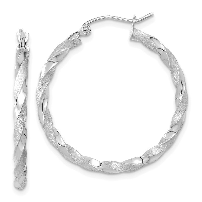 Fine Jewelry by JBD 10k White Gold Polished & Satin Twisted Hoop Earrings