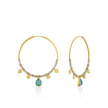 Turquoise Labradorite Hoop Earrings