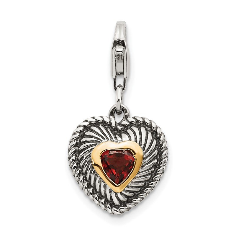 Quality Gold Sterling Silver w/14k Garnet Antiqued Charm