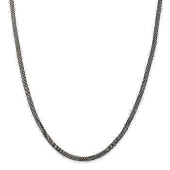 Sterling Silver 4mm Fancy Antiqued Mesh Necklace