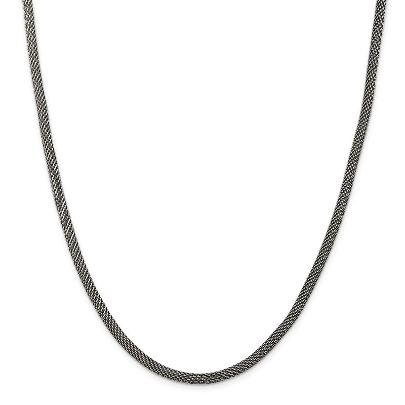 Quality Gold Sterling Silver 4mm Fancy Antiqued Mesh Necklace