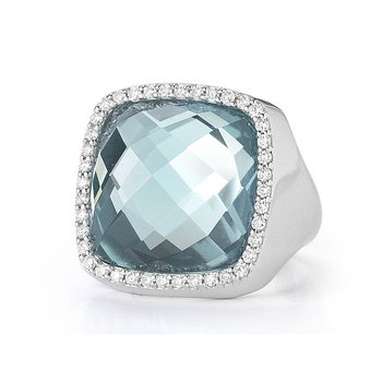 Ring with Diamonds and Topaz