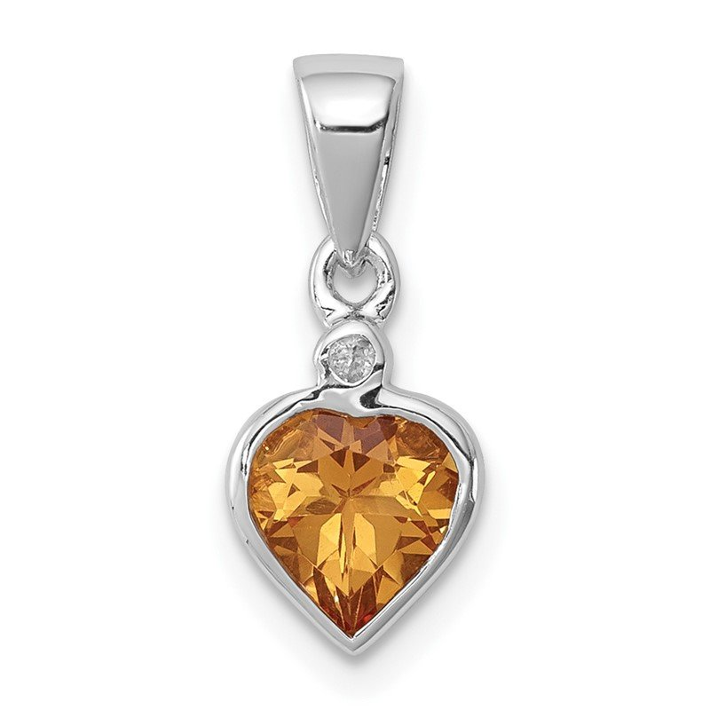 Quality Gold Sterling Silver Rhodium Citrine Diamond Pendant