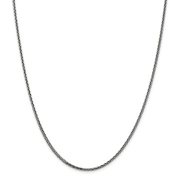 Sterling Silver Antiqued 2.2mm Solid Square Spiga Chain