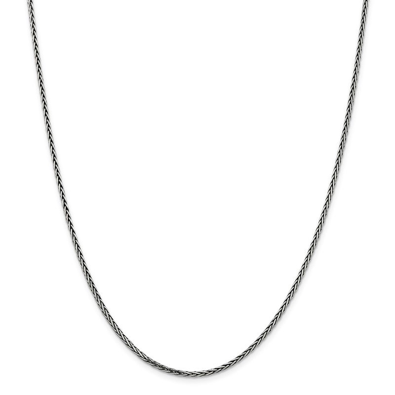 Quality Gold Sterling Silver Antiqued 2.2mm Solid Square Spiga Chain