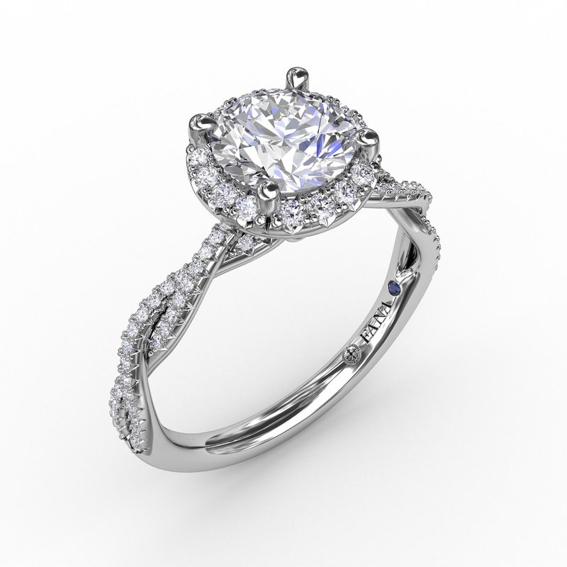 Fana Classic Round Diamond Halo Engagement Ring With Twist Diamond Band