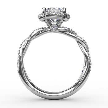 Classic Round Diamond Halo Engagement Ring With Twist Diamond Band