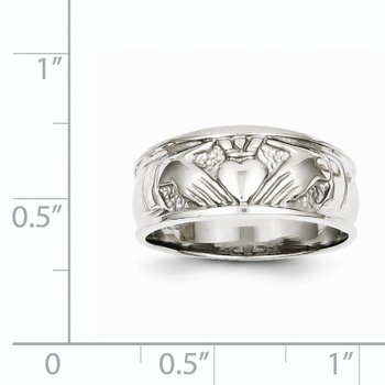 14k White Gold Ladies Polished Claddagh Band