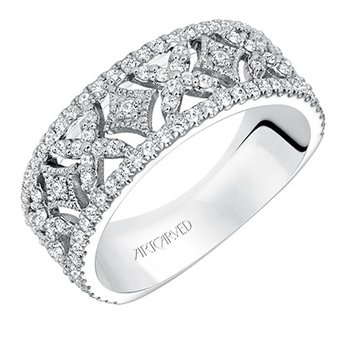 14K White Gold Open Work Wedding Band
