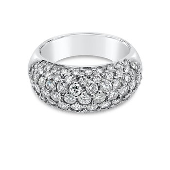18K White Gold Diamond Wide Band