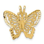 Quality Gold 14K Brushed & Diamond-cut Butterfly Pendant