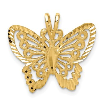 14K Brushed & Diamond-cut Butterfly Pendant