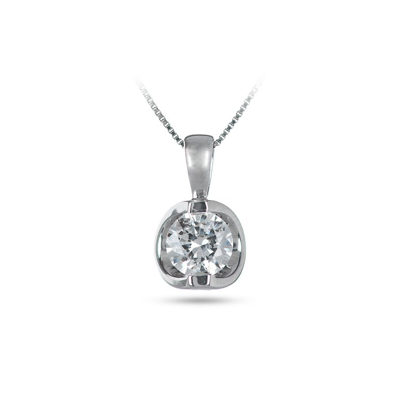 BB Impex 14K WG Diamond 'Moon Shine' Pendant TDW 0.75 Cts