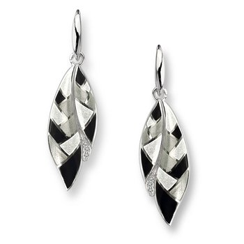 Black and White Harlequin Feather Wire Earrings.Sterling Silver-White Sapphires