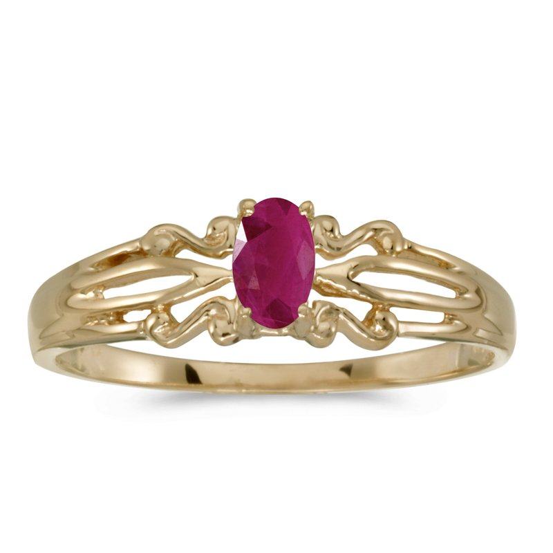 14k Yellow Gold Oval Ruby Ring