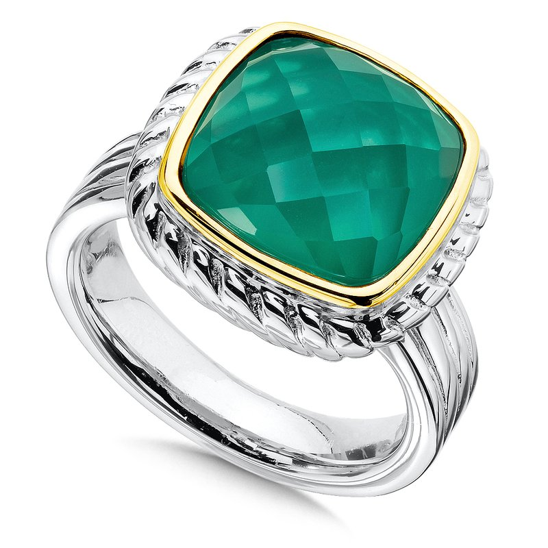 Colore Sg Sterling Silver Green Agate and White Quartz Fusion Ring