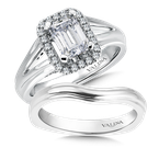 Valina Split shank mounting .27 tw., 1 ct. emerald cut center.