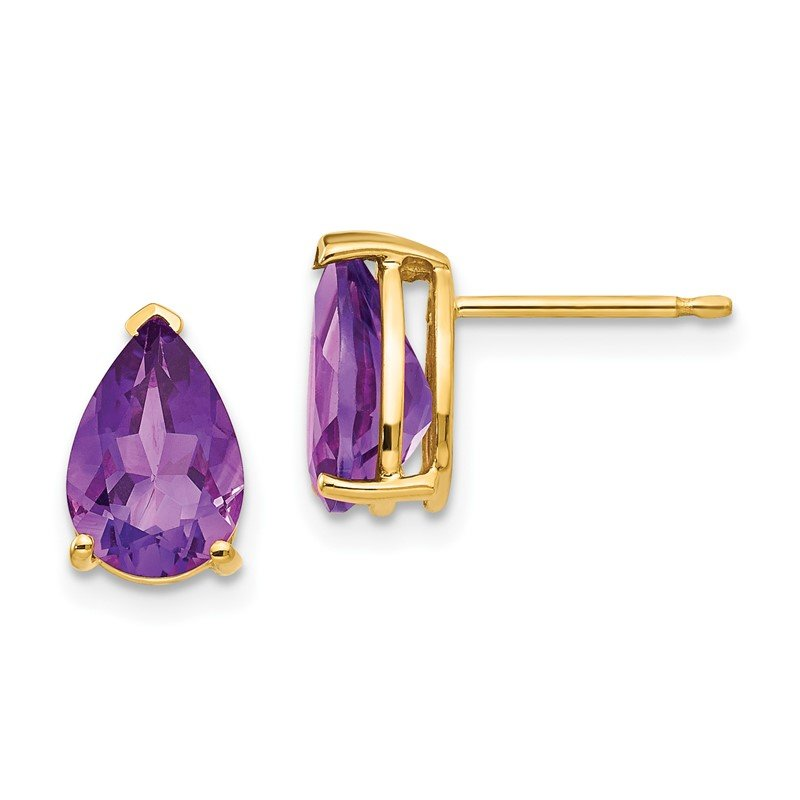 Quality Gold 14k 9x6mm Pear Amethyst Earrings