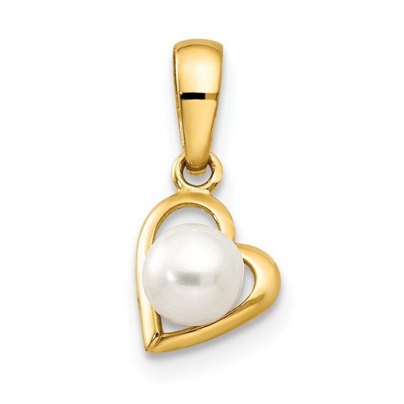 Quality Gold 14k FW Cultured Pearl Children's Heart Pendant