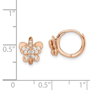 Sterling Silver Rose-tone CZ Butterfly Hinged Hoop Earrings
