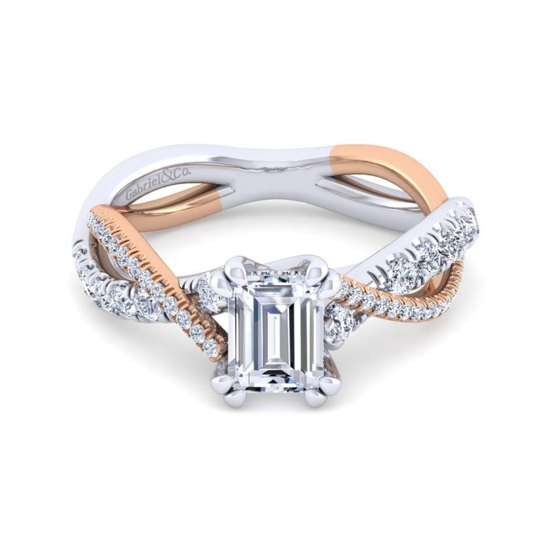 Gabriel Bridal 14K White-Rose Gold Emerald Cut Diamond Twisted Engagement Ring