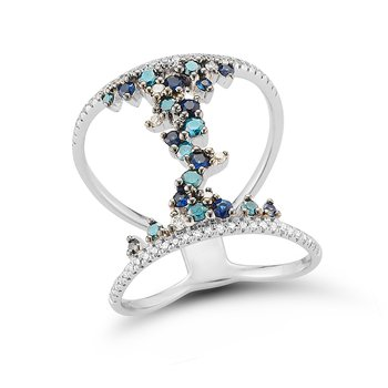 Beautiful Open Design White & Blue Diamonds 0.57C & Blue Sapphires 0.26C