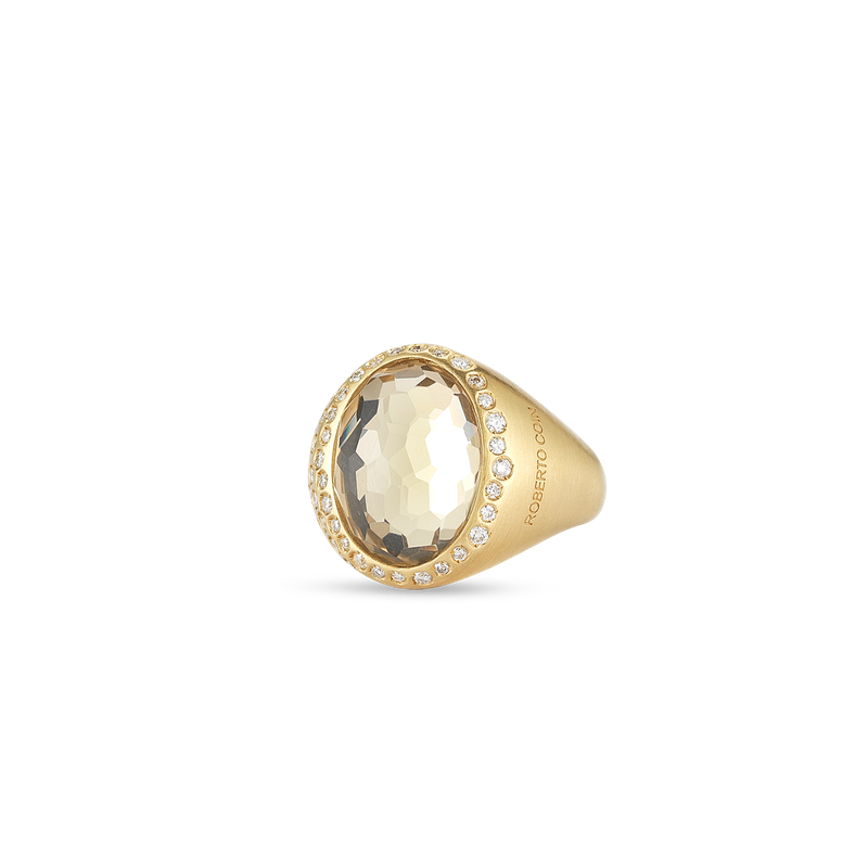 Roberto Coin Ring With Diamonds And Rock Crystal