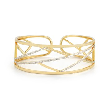 14K Yellow geometric shaped cuff with a hinge, set with 0.73ct diamonds.