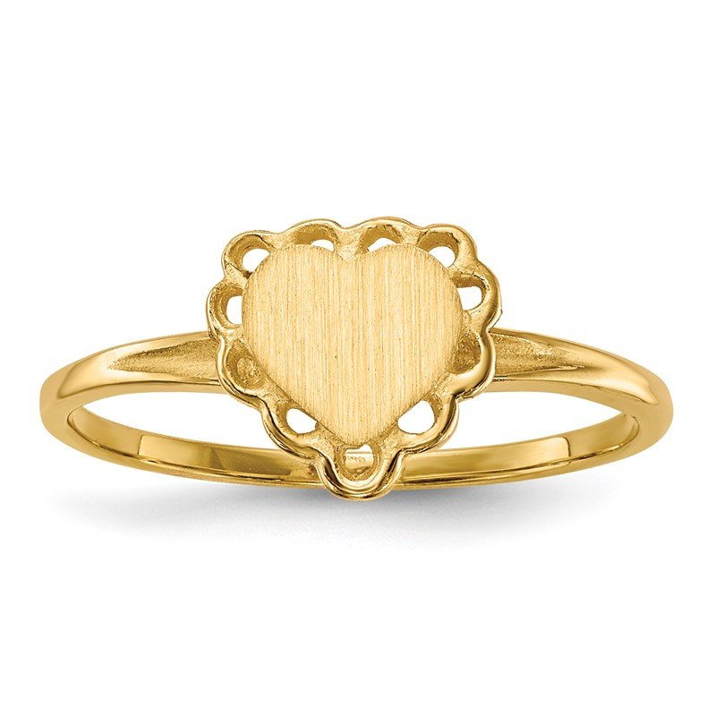 Quality Gold 14k 6.0x6.5mm Open Back Heart Signet Ring