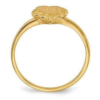 14k 6.0x6.5mm Open Back Heart Signet Ring