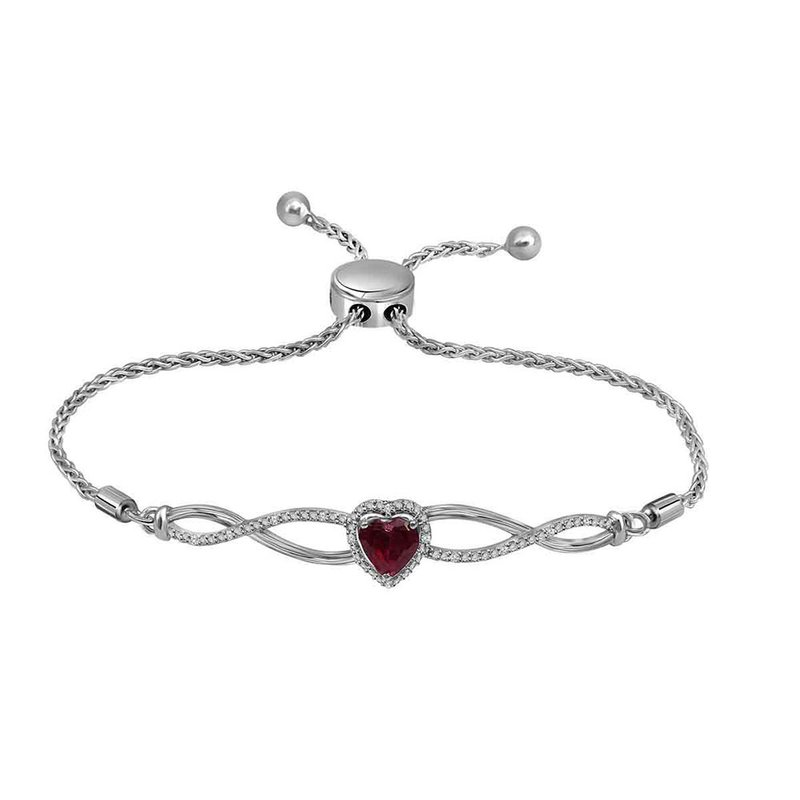 Kingdom Treasures Sterling Silver Womens Round Lab-Created Ruby Diamond Bolo Bracelet 1/2 Cttw