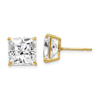 14k 10mm Square CZ Post Earrings
