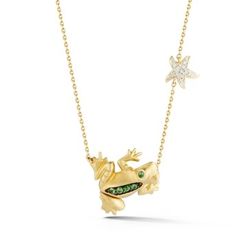 4KY Frog pendant. 11 Diamonds 0.035ct, Tzavorite  0.060ct, 2 Black Diamonds  0.03ct.