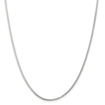 Sterling Silver Rhodium-plated 1.75mm Round Spiga Chain