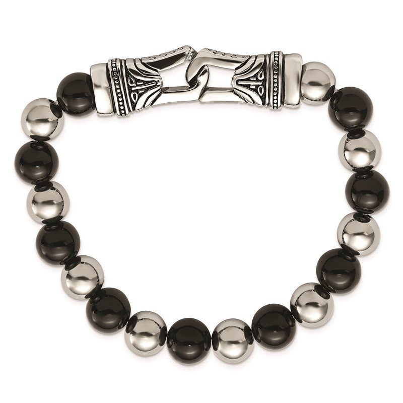 Chisel Stainless Steel Antiqued and Polished Black Agate Stretch Bracelet