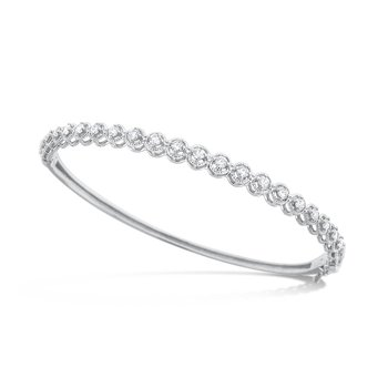 Diamond Bangle in 14K White Gold with 23 Diamonds Weighing .75 ct tw