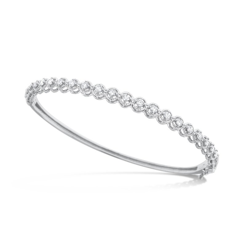 KC Designs Diamond Bangle in 14K White Gold with 23 Diamonds Weighing .75 ct tw