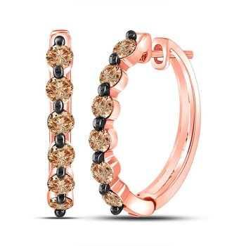 14kt Rose Gold Womens Round Brown Color Enhanced Diamond Hoop Earrings 1.00 Cttw