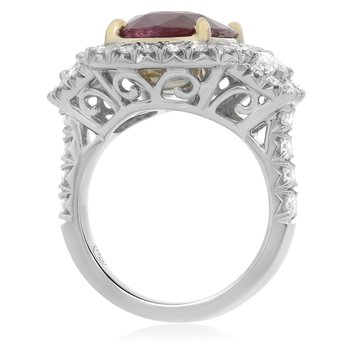 Platinum Ruby Sidestone Ring