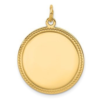 14k Plain .013 Gauge Engravable Round Disc Charm