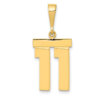 14k Medium Polished Number 11 Charm