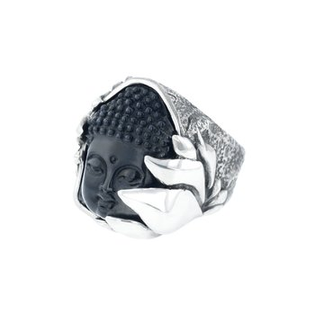 Jet Buddha Hidden In Silver Lotus Ring