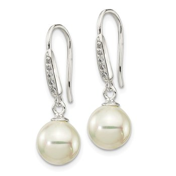 Sterling Silver Rhodium Plated Shell Pearl CZ Post Earrings