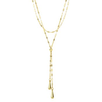 14K Gold Double Tear Drop Multi-Strand Necklace