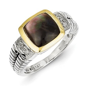 Sterling Silver w/14k Black Mother of Pearl & Diamond Ring